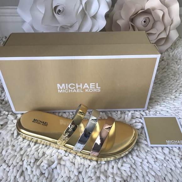 34f5afb03864 Michael kors Keiko Slide Sandals Gold Silver